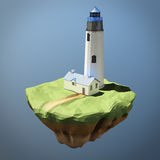Low poly image of a lighthouse. 3d rendering. Low-poly image of a lighthouse. 3d rendering Royalty Free Stock Photo