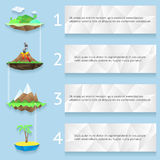 Low poly islands with steps and numbers Stock Photo