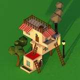 Low poly isometric house Stock Photos
