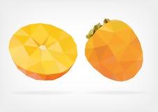Low Poly Kaki fruit. Vector illustration of Kaki fruit in low poly design Royalty Free Stock Photo