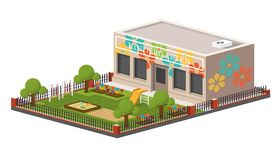 Low poly kindergarten building. Royalty Free Stock Images