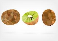 Low Poly Kiwi fruit. Vector illustration of Kiwi fruit in low poly design Royalty Free Stock Photo