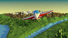 Low poly landscape with airplane. stock video footage