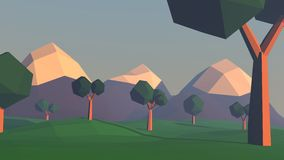 Low poly landscape with mountains and trees Stock Photo