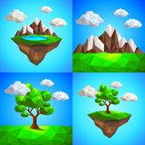 Low poly landscape with tree mountains and floating island vector Royalty Free Stock Photography