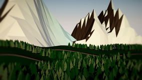 Low poly landscape. The trees, the mountains and the road stock video