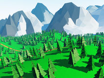 Low poly landscaped. With lawn and trees. 3D Rendered stock illustration