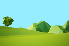 Low poly landscaped with lawn and trees. Low poly landscape with hills and trees vector illustration