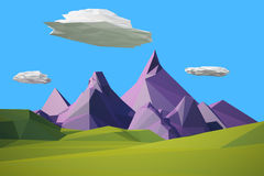 Low poly landscaped with lawn and trees. Low poly landscape with hills, mountains, clouds and a tree stock illustration