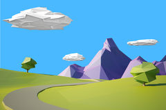 Low poly landscaped with lawn and trees. Low poly landscape with hills, mountains, clouds and a tree vector illustration