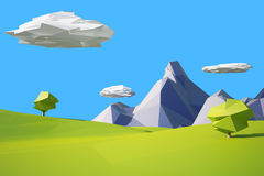 Low poly landscaped with lawn and trees. Low poly landscape with hills, mountains and tree stock illustration