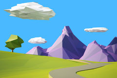 Low poly landscaped with lawn and trees. Low poly landscape with hills, mountains and tree royalty free illustration