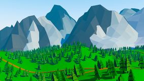 Low poly landscaped. With lawn and trees stock illustration