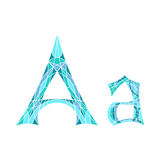 Low poly letter A in blue mosaic polygon Royalty Free Stock Photography