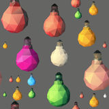 Low poly light bulb. Seamless pattern. Vector seamles pattern with light bulbs. Colorful Low poly lamps illustration Stock Images