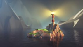 Low poly lighthouse stock illustration