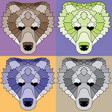 Low poly lined bears set. Nice geometric art Stock Images