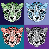 Low poly lined cheetah set. Nice geometric art Royalty Free Stock Image