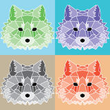 Low poly lined foxes set. Nice geometric art Royalty Free Stock Photos