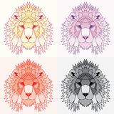 Low poly lined lions set. Geometric nice art Royalty Free Stock Photos