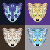 Low poly lined ocelots set. Geometric simple art Royalty Free Stock Photography