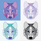 Low poly lined wolves set. Geometric art Stock Image