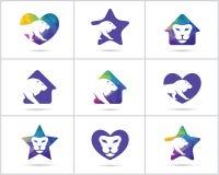 Lion logo design set, low poly lion head vector design icons. Low poly lion vector designs Stock Photography