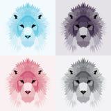 Low poly lions set. Geometric nice art Stock Photo