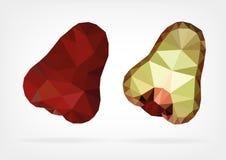 Low Poly Makopa (java wax apple). Vector illustration of Makopa (java wax apple) in low poly design Stock Photo