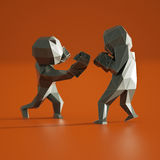 Low poly man , sport boxing 3D rendering Stock Photography