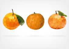 Low Poly Mandarine Fruit. Vector illustration of Mandarine Fruit in low poly design Stock Photography