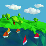 Low poly with many small sailboats on the lake Stock Image