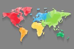 Colored world map triangle design stock vector illustration of low poly map of world divided into six continents by color polygonal vector design with gumiabroncs Gallery