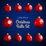 Low poly marry christmas balls set Stock Image