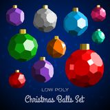 Low poly marry christmas balls set Stock Photography