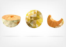Low Poly Melon fruit. Vector illustration of Melon fruit in low poly design Royalty Free Stock Image