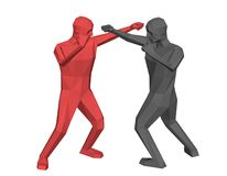 Low poly men fighting. Isolated on white background. Vector illu. Low poly men fighting. Isolated on white background. 3d vector illustration vector illustration