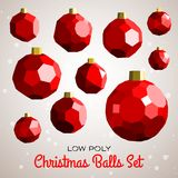 Low poly marry christmas balls set Royalty Free Stock Photos