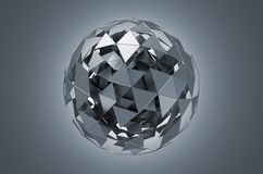 Low Poly Metal Sphere with Chaotic Structure Stock Photography