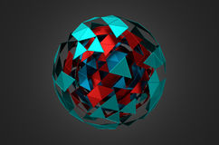Low Poly Metal Sphere with Chaotic Structure Stock Images