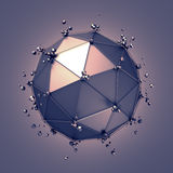Low Poly Metal Sphere with Chaotic Structure Stock Photos
