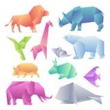 Low poly modern gradient animals set. Origami gradient paper animals. Lion, rhino, hummingbird, giraffe, mouse, bear royalty free illustration
