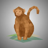 Low poly monkey. Vector illustration in polygonal style. Beautiful forest animal on gray background Stock Photos
