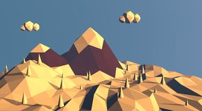 Low poly mountain winter landscape. Snow on top of Stock Photos