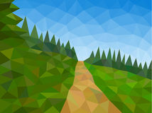 Low poly mountains with blue sky and path. Low poly vector mountains with blue sky and path Royalty Free Stock Photo
