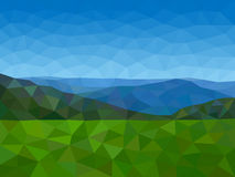 Low poly mountains with blue sky. Low poly vector mountains with blue sky Royalty Free Stock Photo