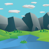 Low poly mountains landscape. Geometric polygonal. 3d design. Nature scene with forests and lake. Eps10 vector illustration Stock Image