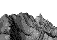 Low poly mountains landscape. Polygonal background. Low poly mountains landscape. Polygonal shapes peaks. 3d illustration. dark triangle mosaic background Royalty Free Stock Photo