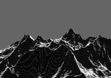 Low poly mountains landscape. Polygonal background. Low poly mountains landscape. Polygonal shapes peaks. 3d illustration. dark triangle mosaic background Stock Photo