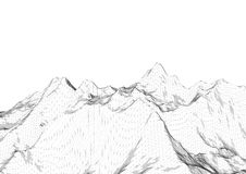 Low poly mountains landscape. Polygonal background. Low poly mountains landscape. Polygonal shapes peaks. 3d illustration. Light black and white triangle mosaic Royalty Free Stock Photo